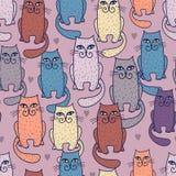 Teste padrão sem emenda dos gatos Multicoloured ilustração stock