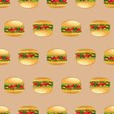 Teste padrão sem emenda dos hamburgueres Foto de Stock Royalty Free