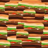Teste padrão sem emenda dos hamburgueres Ilustração do vetor do foo rápido Imagens de Stock