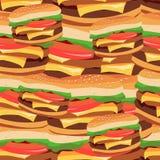 Teste padrão sem emenda dos hamburgueres Ilustração do vetor do foo rápido Imagem de Stock Royalty Free