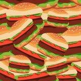 Teste padrão sem emenda dos hamburgueres Ilustração do vetor do foo rápido Fotografia de Stock Royalty Free