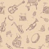 Teste padrão sem emenda dos instrumentos de música Fotografia de Stock Royalty Free