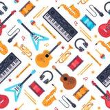 Teste padrão sem emenda dos instrumentos musicais Sintetizador do piano do vintage, guitarra da rocha e cilindros Fundo liso do v ilustração royalty free