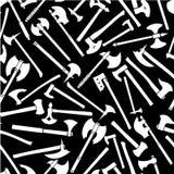 Teste padrão sem emenda dos machados em preto & no branco Fotografia de Stock