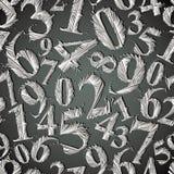 Teste padrão sem emenda dos números estilizados monocromáticos do gráfico Imagens de Stock Royalty Free