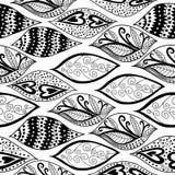 Teste padrão sem emenda dos ornamento preto e branco Fotografia de Stock