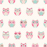 Teste padrão sem emenda dos pássaros das corujas dos desenhos animados Foto de Stock Royalty Free