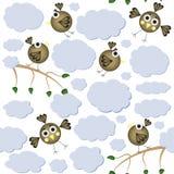 Teste padrão sem emenda dos pássaros dos desenhos animados Fotografia de Stock Royalty Free