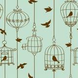 Teste padrão sem emenda dos pássaros e das gaiolas Imagem de Stock Royalty Free