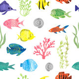 Teste padrão sem emenda dos peixes coloridos da aquarela Imagens de Stock
