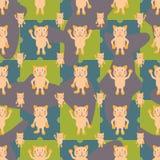 Teste padrão sem emenda dos peixes da simetria do gato dos desenhos animados ilustração stock