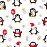 Teste padrão sem emenda dos pinguins bonitos do Natal ilustração do vetor