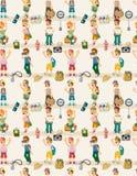 Teste padrão sem emenda dos povos do curso dos desenhos animados Imagens de Stock