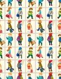 Teste padrão sem emenda dos povos do curso dos desenhos animados Fotografia de Stock Royalty Free