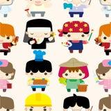 Teste padrão sem emenda dos povos dos desenhos animados Foto de Stock Royalty Free