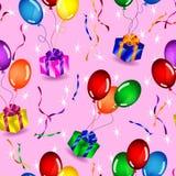 Teste padrão sem emenda dos presentes e dos balões Imagens de Stock Royalty Free