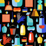 Teste padrão sem emenda dos produtos de limpeza Ilustração do Vetor