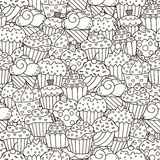 Teste padrão sem emenda dos queques preto e branco ilustração stock