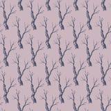 Teste padrão sem emenda dos ramos de árvore do vetor Fotos de Stock