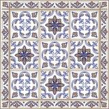 Teste padrão sem emenda dos retalhos do marroquino, das telhas portuguesas em cores azuis e marrons O ornamento decorativo pode s ilustração stock