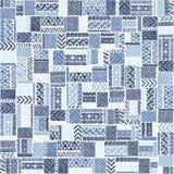 Teste padrão sem emenda dos retalhos Ornamento azul elegante Tribal e Foto de Stock