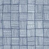 Teste padrão sem emenda dos retalhos Ornamento azul elegante Tribal e Fotos de Stock Royalty Free