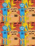 Teste padrão sem emenda dos robôs dos desenhos animados Imagem de Stock Royalty Free