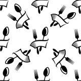 Teste padrão sem emenda dos símbolos da cutelaria da cozinha Imagens de Stock Royalty Free