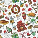 Teste padrão sem emenda dos símbolos da garatuja da estação do Natal ilustração stock