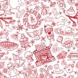 Teste padrão sem emenda dos símbolos da garatuja do Natal linear ilustração royalty free
