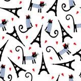 Teste padrão sem emenda dos símbolos de Paris O gato parisiense dos desenhos animados bonitos e a excursão Eiffel vector a ilustr Fotos de Stock Royalty Free