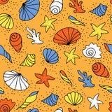 Teste padrão sem emenda dos seashells Imagens de Stock