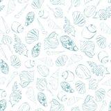 Teste padrão sem emenda dos Seashells Seachells simples do desenho Fotografia de Stock