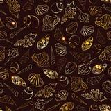 Teste padrão sem emenda dos Seashells Seachells simples do desenho Conchas do mar douradas no fundo escuro Imagem de Stock