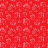 Teste padrão sem emenda dos tomates para o projeto do fundo molde Fundo sem emenda da quadriculação dos tomates Foto de Stock Royalty Free