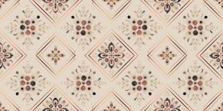 Teste padrão sem emenda dos tons da terra, mosaico floral da aquarela digital com quadros cor-de-rosa do quadrado do ouro ilustração stock
