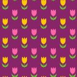 Teste padrão sem emenda dos Tulips coloridos Imagens de Stock Royalty Free
