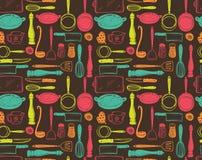 Teste padrão sem emenda dos utensílios da cozinha Fotografia de Stock Royalty Free