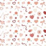 Teste padrão sem emenda dos Valentim com coração, flor, curva, ` s do cupido Imagens de Stock
