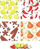 Teste padrão sem emenda dos vegetais e das especiarias Ilustração Stock