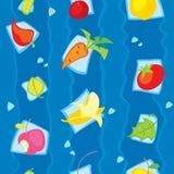 Teste padrão sem emenda dos vegetais e dos frutos do vegetariano Imagem de Stock Royalty Free