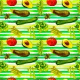 Teste padrão sem emenda dos vegetais Teste padrão repetível com alimento saudável ilustração stock