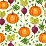 Teste padrão sem emenda dos vegetais sortidos Fotografia de Stock Royalty Free