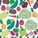 Teste padrão sem emenda dos vegetais sortidos Fotos de Stock Royalty Free
