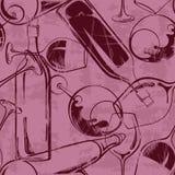 Teste padrão sem emenda dos vidros e das garrafas de vinho Imagem de Stock Royalty Free
