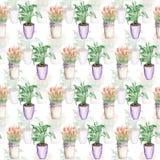 Teste padrão sem emenda duobly das tulipas em uma cubeta e em um spathiphyllum Foto de Stock