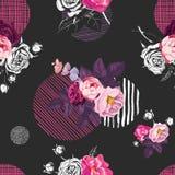 Teste padrão sem emenda elegante com os ramalhetes metade-coloridos de flores cor-de-rosa selvagens e os círculos de texturas dif Fotos de Stock