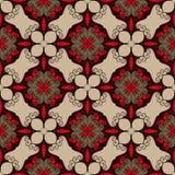 Teste padrão sem emenda elegante em cores vermelhas, marrons e bege Textura intrincada do design web do flourish Fotos de Stock Royalty Free