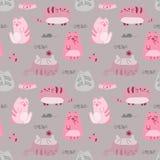 Teste padrão sem emenda engraçado bonito com gatos e acessórios ilustração royalty free