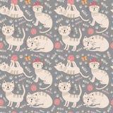 Teste padrão sem emenda engraçado com gatos bonitos Imagens de Stock Royalty Free